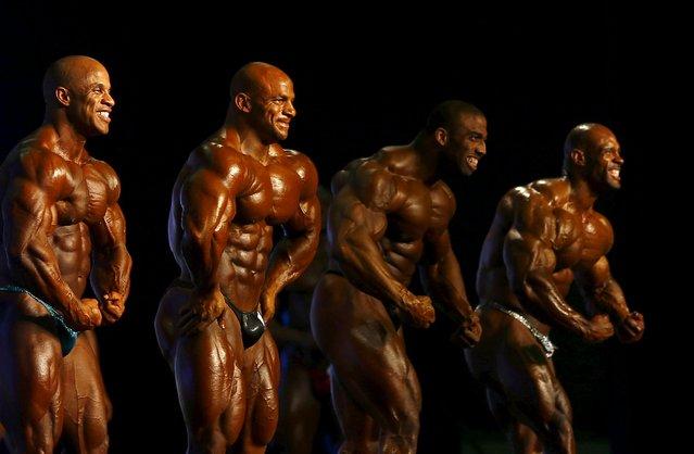 Professional bodybuilders (L-R)  Victor Martinez of the Dominican Republic, Mamdouh Elssbiay of Egypt, and Cedric McMillan and Juan Morel of U.S, pose during the Arnold Classic Brazil 2015 in Rio de Janeiro, May 30, 2015. REUTERS/Ricardo Moraes