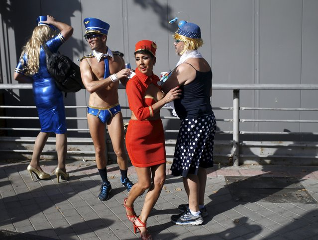 Revellers take part in the gay pride parade in Madrid, Spain July 4, 2015. (Photo by Javier Barbancho/Reuters)