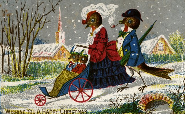 1870: The Robin family take a stroll on a wintry Christmas morning, on this Victorian Christmas greetings card