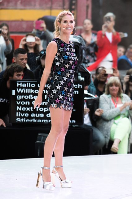 """Heidi Klum during the finals of """"Germany's Next Topmodel"""" at Coliseo Balear on May 12, 2016 in Palma de Mallorca, Spain. (Photo by Matthias Nareyek/Getty Images)"""