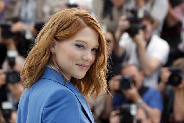 """Cast member Lea Seydoux poses during a photocall for the film """"Saint Laurent"""" in competition at the 67th Cannes Film Festival in Cannes May 17, 2014. (Photo by Regis Duvignau/Reuters)"""