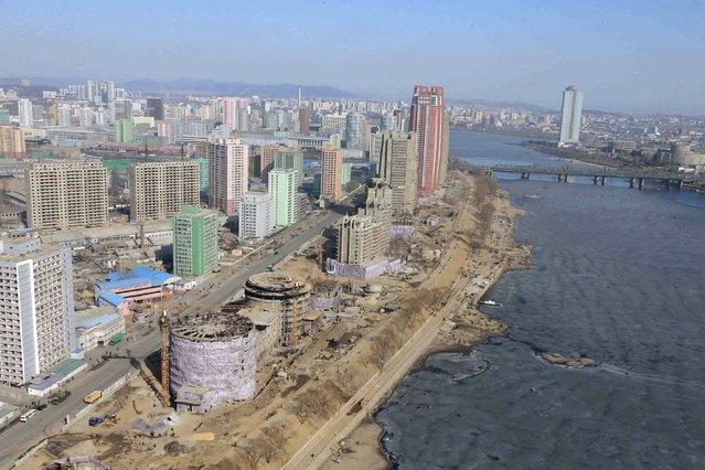An aerial view shows the construction of the Mirae Scientists Street in Pyongyang in this undated photo released by North Korea's Korean Central News Agency (KCNA) in Pyongyang February 15, 2015. (Photo by Reuters/KCNA)