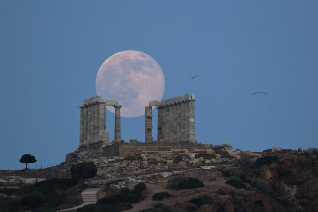 Seagulls fly as the full moon rises behind the ancient marble Temple of Poseidon at Cape Sounion, southeast of Athens, on the eve of the summer solstice on June 20, 2016. The temple located on a promontory at Cape Sounion,  about 70 Km (45 miles) south-southeast of Athens, built 444 BC, and dedicated to Poseidon, god of the sea. (Photo by Petros Giannakouris/AP Photo)