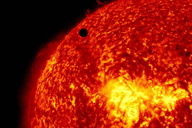 Venus passes in front of the sun in this ultra-high definition view by the Solar Dynamic Observatory on June 5, 2012