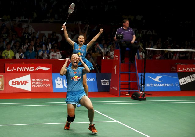 China's Tian Qing and Zhao Yunlei react after beating Denmark's Christinna Pedersen and Kamilla Juhl during their women's double finals badminton match at the BWF World Championships in Jakarta, August 16, 2015. (Photo by Darren Whiteside/Reuters)