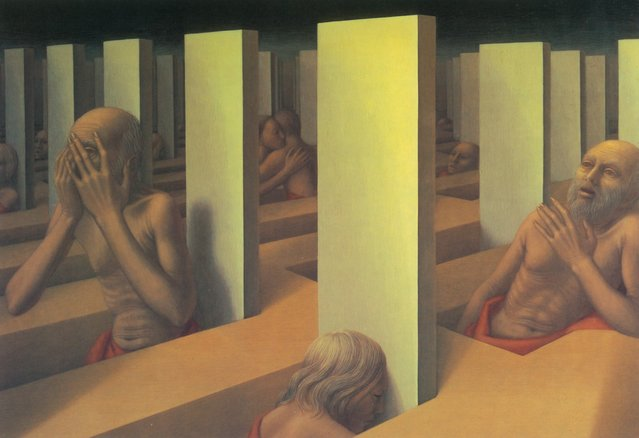 Landscape with Figures II. Artwork by George Tooker