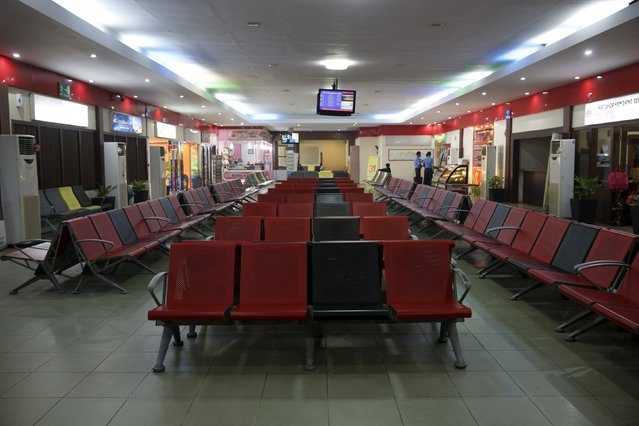 An empty boarding area is seen at Sultan Thaha airport due to poor visibility from the haze in Jambi, on Indonesia's Sumatra island, September 15, 2015. (Photo by Reuters/Beawiharta)