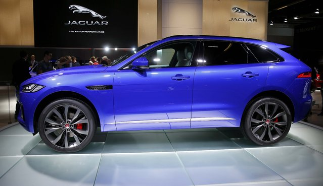 Jaguar F-PACE SUV is pictured during the media day at the Frankfurt Motor Show (IAA) in Frankfurt, Germany, September 15, 2015. (Photo by Kai Pfaffenbach/Reuters)