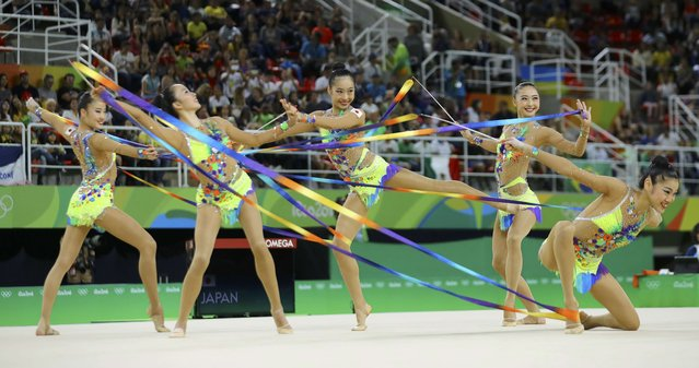 2016 Rio Olympics, Rhythmic Gymnastics, Final, Group All-Around Final, Rotation 1, Rio Olympic Arena, Rio de Janeiro, Brazil on August 21, 2016. Team Japan (JPN) compete using ribbons. (Photo by Mike Blake/Reuters)