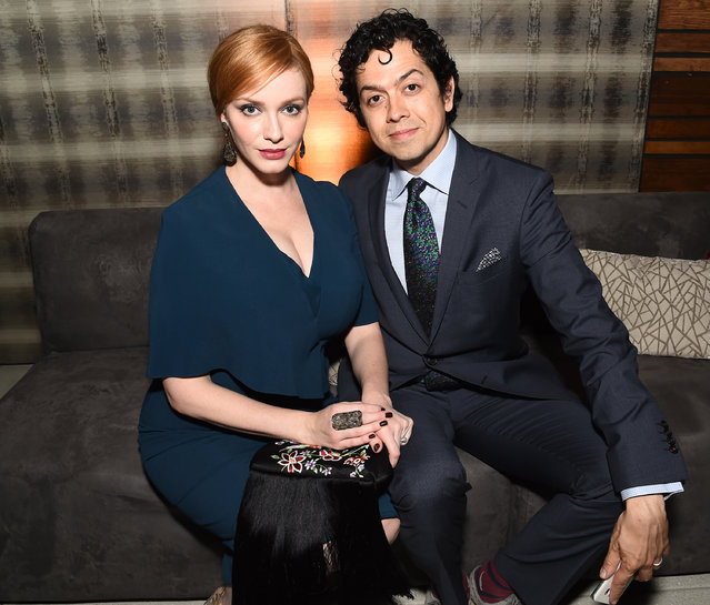 Christina Hendricks, left, and Geoffrey Arend attend the Television Academy's 67th Emmy Awards Performers Nominee Reception at the Pacific Design Center on Saturday, September19, 2015, in West Hollywood, Calif. (Photo by Charles Sykes/Invision for the Television Academy/AP Images)