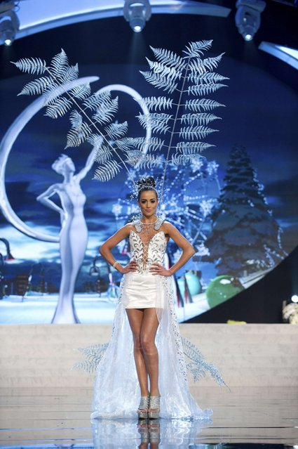 Miss New Zealand Talia Bennett on stage at the 2012 Miss Universe National Costume Show on Friday, December 14, 2012 at PH Live in Las Vegas, Nevada. The 89 Miss Universe Contestants will compete for the Diamond Nexus Crown on December 19, 2012. (Photo by AP Photo/Miss Universe Organization L.P., LLLP)