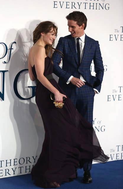 """Hannah Bagshawe and Eddie Redmayne attend the UK Premiere of """"The Theory Of Everything"""" at Odeon Leicester Square on December 9, 2014 in London, England. (Photo by Tim P. Whitby/Getty Images)"""