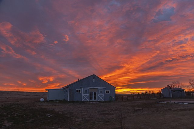The sky turns pink and orange during a cold sunrise, in December, 2014, in Colorado. (Photo by Roger Hill/Barcroft Media)