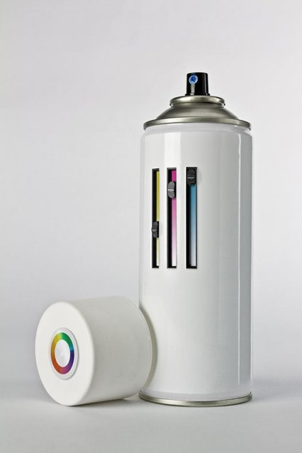 A spray paint can with color adjustments. (Photo by Giuseppe Colarusso/Caters News)