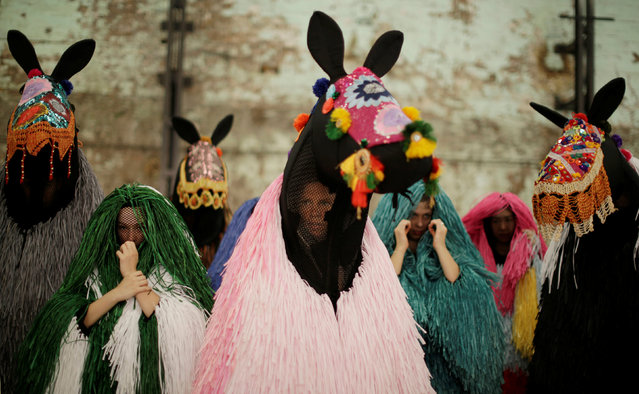 Dancers dressed as a horses listen to instruction from a choreographer during a press preview by American artist Nick Cave of his first major work shown in Australia, entitled HEARD.SYD in Sydney, November 8, 2016. (Photo by Jason Reed/Reuters)