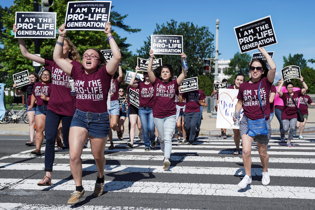 Pro-life protesters rally outside the U.S. Supreme Court waiting for the National Institute of Family and Life Advocates v. Becerra case, which remains pending, in Washington, U.S., June 25, 2018. (Photo by Toya Sarno Jordan/Reuters)