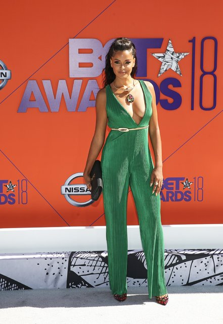 Claudia Jordan arrives at the BET Awards at the Microsoft Theater on Sunday, June 24, 2018, in Los Angeles. (Photo by Bennett Raglin/Getty Images)
