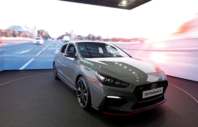 The Hyundai i30 Fastback N is on display at the Auto show in Paris, France, Tuesday, October 2, 2018, 2018. (Photo by Regis Duvignau/Reuters)