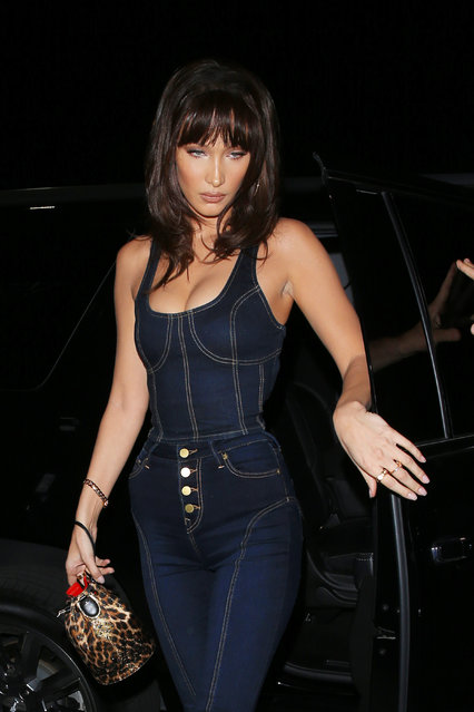 Modle Bella Hadid is seen exiting from the Poppy club after attending a True Religion event in Los Angeles, CA on October 18, 2018. Bella is wearing a True Religion Denim attire. (Photo by  Photographer Group/Splash News and Pictures)