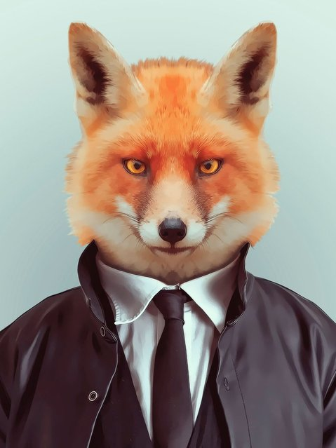 Fox in suit and coat. (Photo by Yago Partal/Barcroft Media)