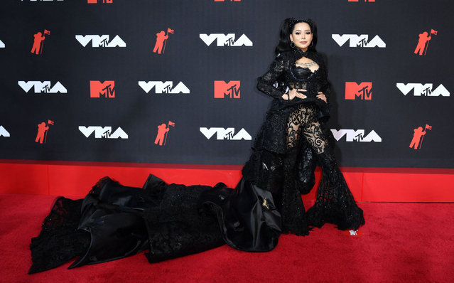 US-Filipino singer Bella Poarch arrives for the 2021 MTV Video Music Awards at Barclays Center in Brooklyn, New York, September 12, 2021. (Photo by Angela  Weiss/AFP Photo)