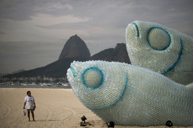 A woman looks at an installation made of recycled plastic bottles representing fishes, in Botafogo beach, in Rio de Janeiro, on June 19, 2012, in the sidelines of the UN Conference on Sustainable Development, Rio+20. (Photo by Christophe Simon/AFP Photo)