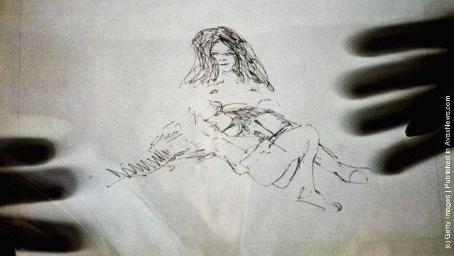 A lithographic sketch, purportedly by Beatles star John Lennon, shows his wife Yoko Ono in a sexual context within a document released by The National Archives
