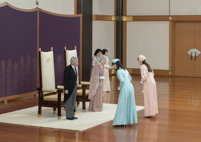 In this photo provided by the Imperial Household Agency, Japan's Emperor Akihito, left, and Empress Michiko, second from left, are celebrated by Princess Mako, right, and Princess Kako during a celebration marking their 60th wedding anniversary at the Imperial Palace in Tokyo, Wednesday, April 10, 2019. (Photo by The Imperial Household Agency of Japan via AP Photo)