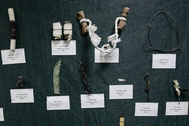 Improvised weapons are displayed on a wall by Joint Task Force Guantanamo at the U.S. Naval Base in Guantanamo Bay, Cuba March 22, 2016. (Photo by Lucas Jackson/Reuters)