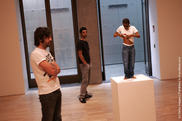 An exhibition piece entitled Youth is seen ahead of the opening of the Ron Mueck exhibition