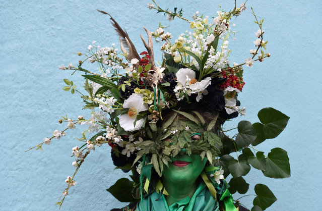 "A participant takes part in the annual Jack In The Green parade involving hundreds of costumed revellers joining a four hour procession culminating in the traditional ""slaying"" of a Jack character to ""unleash the spirit of summer"" on the May Day week end, in Hastings, southern Britain, May 2, 2016. (Photo by Toby Melville/Reuters)"