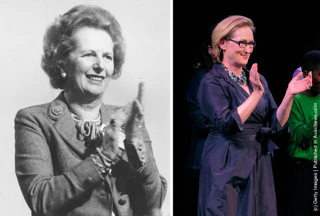 1986: Prime Minister Margaret Thatcher applauds the sentiments of one of her colleagues at the Conservative Party conference at Bournemouth in October 1986; Actress Meryl Streep performs onstage at the Paul Newman's Hole in the Wall Camps at Avery Fisher Hall, Lincoln Center on October 21, 2010 in New York City