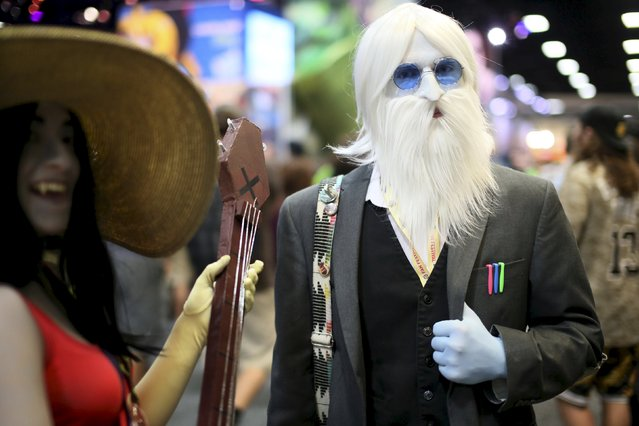 Chris Kiley shows his Iceman costume at the 2015 Comic-Con International in San Diego, California, July 9, 2015. (Photo by Sandy Huffaker/Reuters)