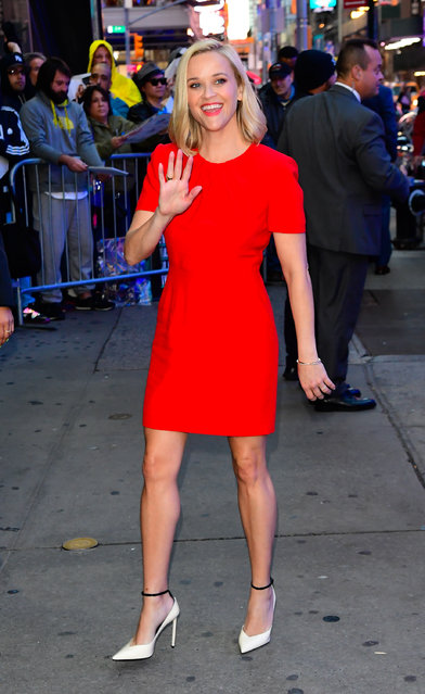 Actress Reese Witherspoon is seen outside good morning america on October 28, 2019 in New York City.  (Photo by Raymond Hall/GC Images)