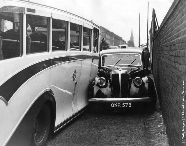 1952: Six holiday-makers were taken to hospital, along with the driver of the coach, after being involved in a triple crash between this car, the coach and another bus in Islington