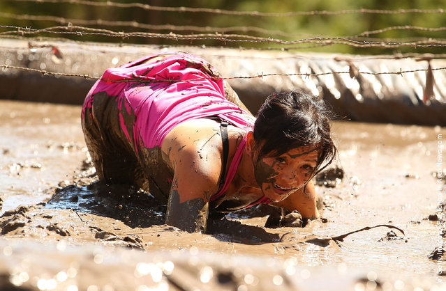 Lisa Yu crawls through a mud pit under low slung barbed wire as she competes in The Tough Bloke Challenge
