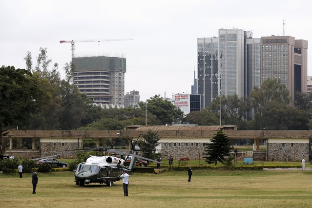 U.S. President Barack Obama prepares to depart aboard the Marine One helicopter from a downtown landing zone, to travel to deliver remarks at the Global Entrepreneurship Summit at the United Nations compound in Nairobi, Kenya  July 25, 2015. (Photo by Jonathan Ernst/Reuters)