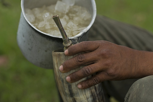 """In this May 16, 2017 photo, a cowboy serves """"Terere"""", an herbal """"mate"""" beverage, served ice-cold in an ox horn, in Corumba, in the Pantanal wetlands of Mato Grosso do Sul state, Brazil. """"Terere"""" is sipped through a silver straw, the personal property of each cowboy. (Photo by Eraldo Peres/AP Photo)"""