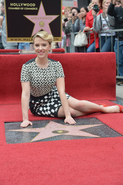 Actress Scarlett Johansson Honored With The Star On The Hollywood Walk Of Fame on May 2, 2012 in Hollywood