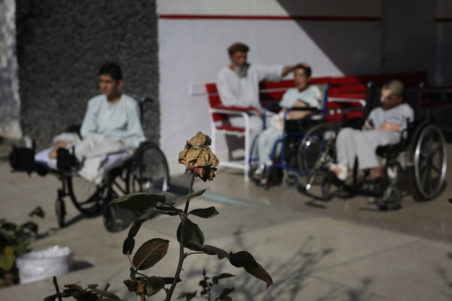 In this Thursday, December 5, 2019, photo, young Afghan victims of war bask in sun outside their ward at Emergency Surgical Center for Civilian War Victims in Kabul, Afghanistan. The total number of children killed or maimed in more than four decades long Afghan war is not known. But, with a population where close to 50% are under the age of 20, the losses among the young is tremendous. (Photo by Altaf Qadri/AP Photo)