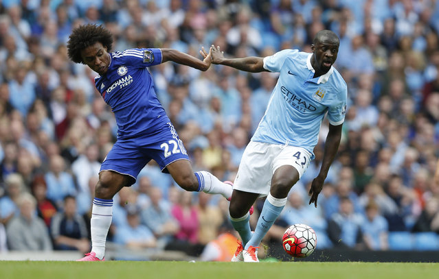 Football, Manchester City vs Chelsea, Barclays Premier League, Etihad Stadium on August 16, 2015: Chelsea's Willian in action with Manchester City's Yaya Toure. (Photo by Carl Recine/Reuters/Action Images)