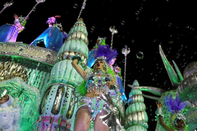 Revellers of Paraiso do Tuiuti samba school perform during the first night of the Carnival parade at the Sambadrome in Rio de Janeiro, Brazil on February 24, 2020. (Photo by Pilar Olivares/Reuters)