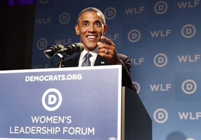 U.S. President Barack Obama makes remarks at the DNC's annual Women's Leadership Forum at the Marriott Marquis Hotel in Washington, September 19, 2014. (Photo by Larry Downing/Reuters)