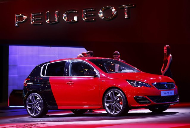 The Peugeot 308 GTi 270 Sport is presented during the media day at the Frankfurt Motor Show (IAA) in Frankfurt, Germany September 15, 2015. (Photo by Kai Pfaffenbach/Reuters)