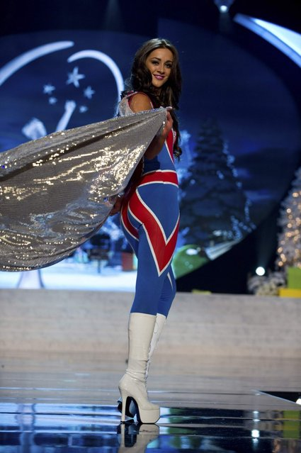 Miss Great Britain Holly Hale on stage at the 2012 Miss Universe National Costume Show on Friday, December 14, 2012 at PH Live in Las Vegas, Nevada. The 89 Miss Universe Contestants will compete for the Diamond Nexus Crown on December 19, 2012. (Photo by AP Photo/Miss Universe Organization L.P., LLLP)