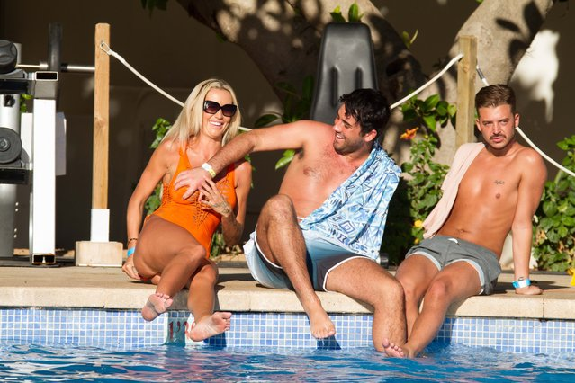 UK Big Brother stars Charlie Doherty with fellow house mates Hughie Maughan and Ryan Ruckledge by the pool in Magaluf, Majorca on September 8, 2016. (Photo by Exclusivepix Media)