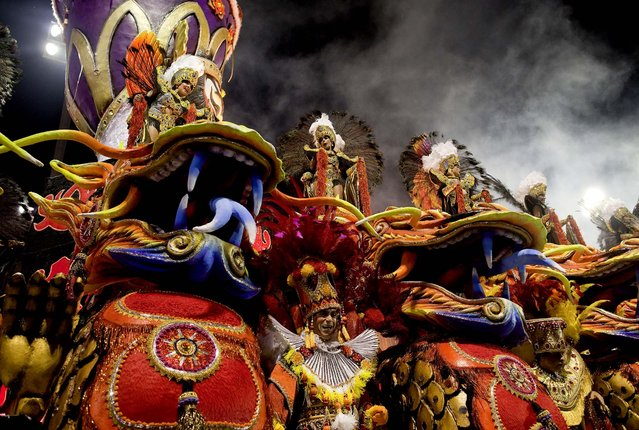 Dancers from the Rosas de Ouro samba school in Sao Paulo. (Photo by Andre Penner/Associated Press)