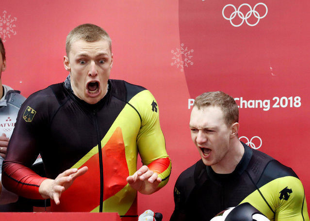 Francesco Friedrich and Thorsten Margis of Germany celebrate winning joint gold during the Men's 2-Man Bobsleigh on day 10 of the PyeongChang 2018 Winter Olympic Games at Olympic Sliding Centre on February 19, 2018 in Pyeongchang-gun, South Korea. (Photo by Arnd Wiegmann/Reuters)