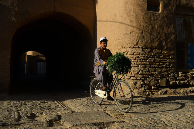 A youth rids his bicycle on a road in the old part of Herat on August 31, 2020. (Photo by Hoshang Hashimi/AFP Photo)