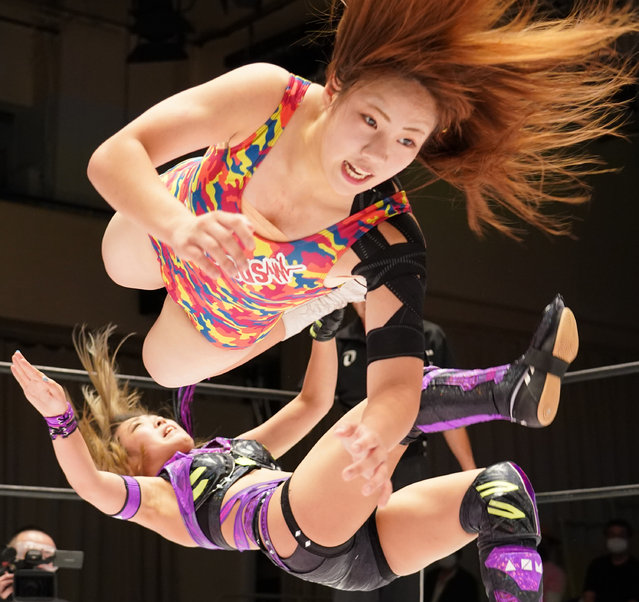 """Mei Hoshizuki and AZM compete during the Women's Pro-Wrestling """"Stardom"""" at Korakuen Hall on September 28, 2020 in Tokyo, Japan. (Photo by Etsuo Hara/Getty Images)"""